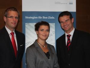 Jens Rautenberg, Geschäftsführer der conversio e.K; Cornelia Hupe, Vertriebsspezialistin von apano; Boris Fahle, Gründungsmitglied der Consilium Finanzmanagement AG (v.l.n.r.).